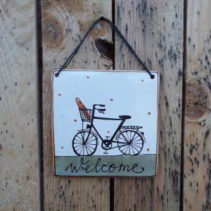 Kerámia ajtótábla férfi bagettos bicikli dekorral – nagy