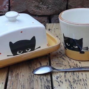 Kerámia vajtartó fekete macska motívummal #8