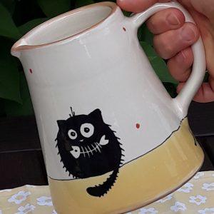 Többfunkciós kerámia kiöntő fekete macska motívummal #10 – 7dl