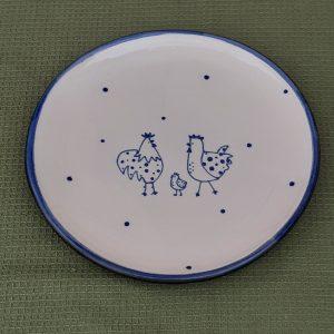 Kék állatos kerámia tányér csirkés dekorral