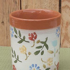 Tavaszi virágos kerámia pohár színes mintával