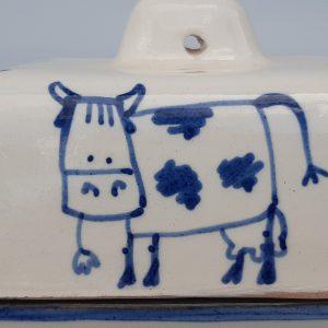 Kék állatos kerámia vajtartó bocis dekorral