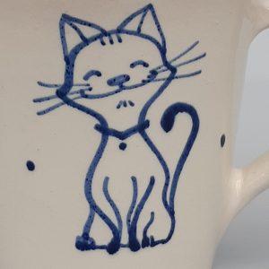 Kék állatos szűkülő falú kerámia bögre álmodó cicás dekorral – nagy – 4dl