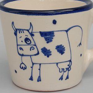 Kék állatos szűkülő falú kerámia bögre bocis dekorral – kicsi