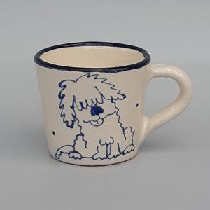 Kék állatos szűkülő falú kerámia bögre kutyás dekorral – 2,3 dl