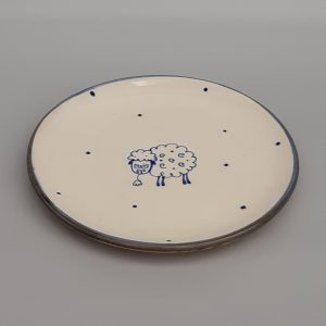 Kék állatos kerámia tányér baris dekorral #4