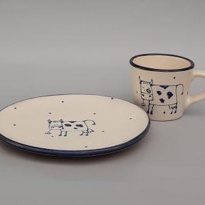 Kék állatos kerámia tányér bocis dekorral #2