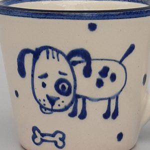 Kék állatos szűkülő falú kerámia bögre kutyás dekorral – kicsi 1 dl