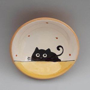 Többfunkciós kerámia kínáló tálka fekete macska motívummal