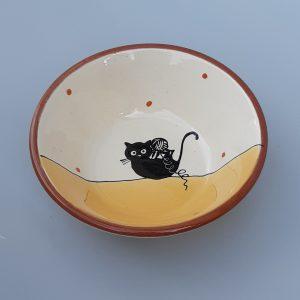 Többfunkciós kerámia tál fekete macska motívummal #9