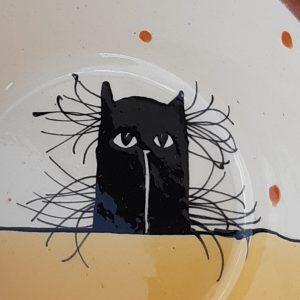 Többfunkciós kerámia tál fekete macska motívummal #15