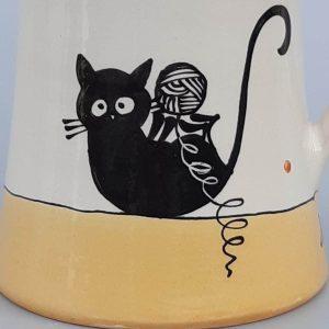 Többfunkciós kerámia kiöntő fekete macska motívummal #9