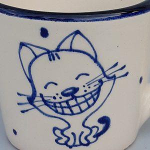 Kék állatos szűkülő falú kerámia bögre álmodó cicás dekorral – kicsi #24