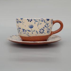 Tavaszi virágos Nagy csésze alátéttel, kék mintával – 4dl