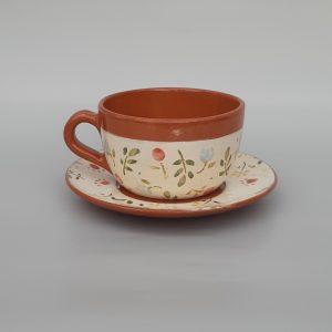 Tavaszi virágos Nagy csésze alátéttel, színes mintával – 4dl