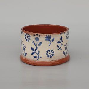 Tavaszi virágos kerek cukortartó kék mintával