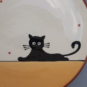 Többfunkciós kerámia tál fekete macska dekorral #12