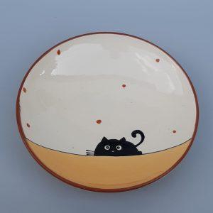 Többfunkciós kerámia tál fekete macska dekorral #13