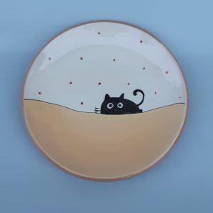 Fekete macskás tányér #13