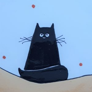 Fekete macskás tányér #5