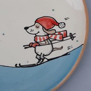 Kerámia tányér Téli állatos dekorral #7