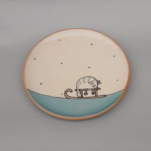 Kerámia tányér Téli állatos dekorral #8