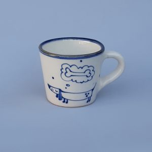 Kék állatos szűkülő falú kerámia bögre álmodó tacskó dekorral #15
