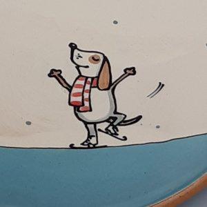 Kerámia tányér Téli állatos dekorral