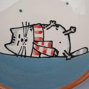 Többfunkciós kerámia kínáló tálka téli állatos mintával #6