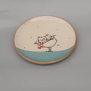 Kerámia tányér Téli állatos dekorral #10