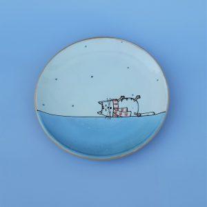 Kerámia tányér Téli állatos dekorral #6