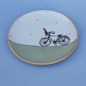 Kerámia tányér bagettos férfi bicikli dekorral