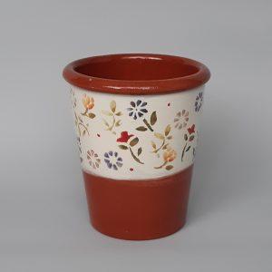 Kerámia kaspó színes virág mintával