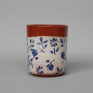 Tavaszi virágos kerámia pohár kék mintával 2,5dl