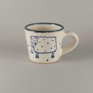 Kék állatos szűkülő falú kerámia bögre bárányos dekorral – 1,7dl