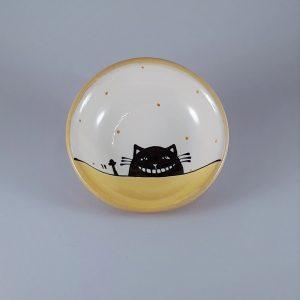 Többfunkciós kerámia kínáló tálka fekete macska motívummal #01