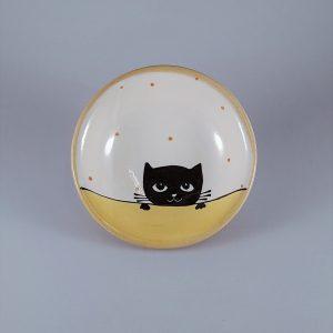 Többfunkciós kerámia kínáló tálka fekete macska motívummal #08