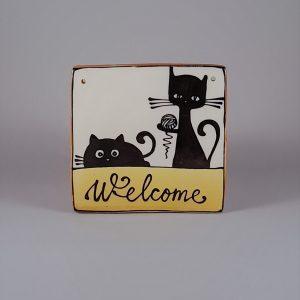 Kerámia ajtótábla fekete macskás dekorral #137