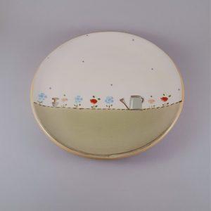 Én kis kertem kerámia tányér locsolós-virágos dekorral