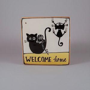 Kerámia ajtótábla fekete macskás dekorral #93