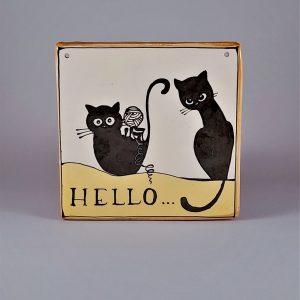 Kerámia ajtótábla fekete macskás dekorral #96
