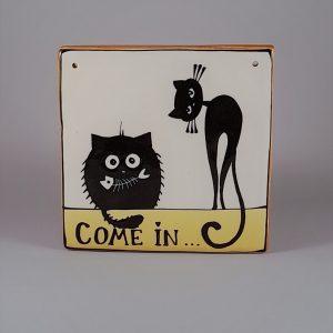 Kerámia ajtótábla fekete macskás dekorral #104