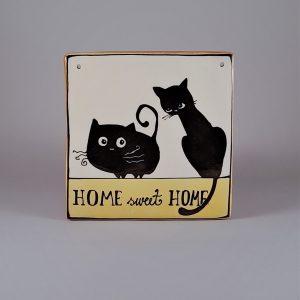 Kerámia ajtótábla fekete macskás dekorral #146