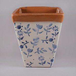 Szögletes kerámia kaspó kék virágmintával – kicsi
