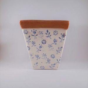 Szögletes kerámia kaspó kék virágmintával – nagy