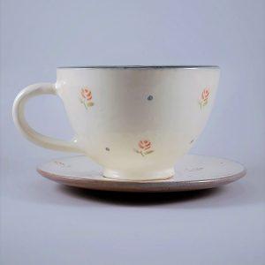 Rózsás teás csésze alátét tányérral – 3 dl
