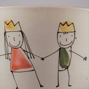 Óvodás kerámia tálka királylány és királyfi dekorral – 0,5 l