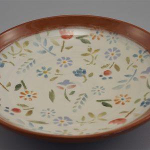 Kerámia tál színes virágmintával