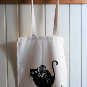 Vászon táska gombolyagos cica dekorral #09