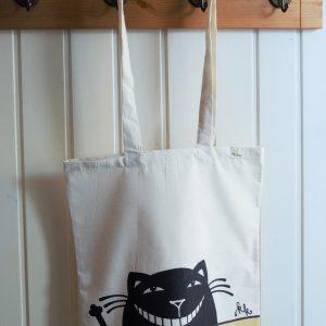 Vászon táska vigyorgó macska dekorral # 01